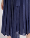 Mesh Tied Midi Dress With Pleated Skirt