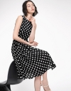 Polka Dotted Dress With Asymmetric Hem