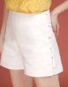 Mid-Rise Shorts With Side Buttons