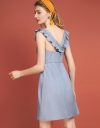 Ruffled Dress With Crossover Straps