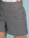 Mid-Rise Checked Shorts