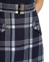 Color Block Belted Dress With Checked Skirt