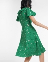 Belted Wrap Printed Midi Dress