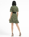 Printed Belted Dress With Tied Neck