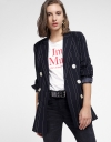 Sleeved Striped Coat With Buttons