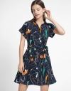 Printed Dress With Attached Belt