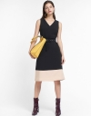 V-Neck Midi Dress With Color Block Hem