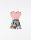 Smocked Dress With Printed Skirt
