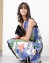 Tropical Print Topstitch Midi Dress