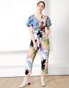 Tropical Print Jumpsuit with Belt