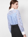 Long Sleeve Guipure Lace Top with Embroidered Collar