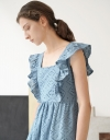 Square Neck Ruffle Trim Maxi Dress