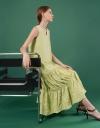Scoop Neck Pleated Hem Maxi Dress
